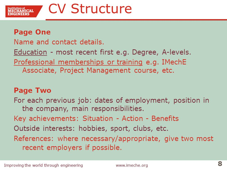 CV Structure Page One Name and contact details.
