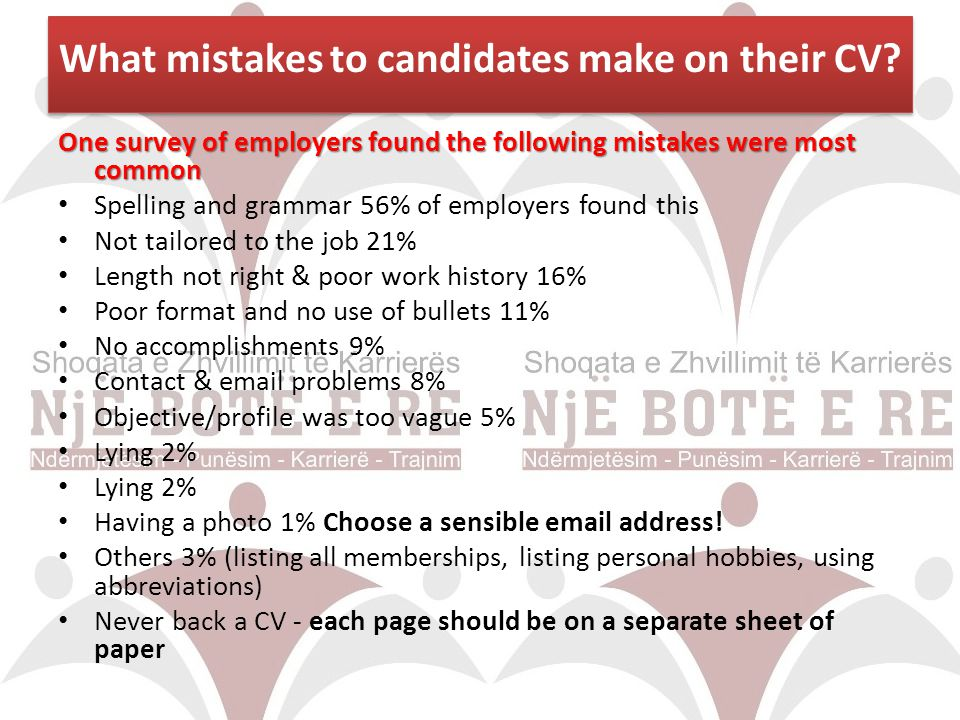 What mistakes to candidates make on their CV
