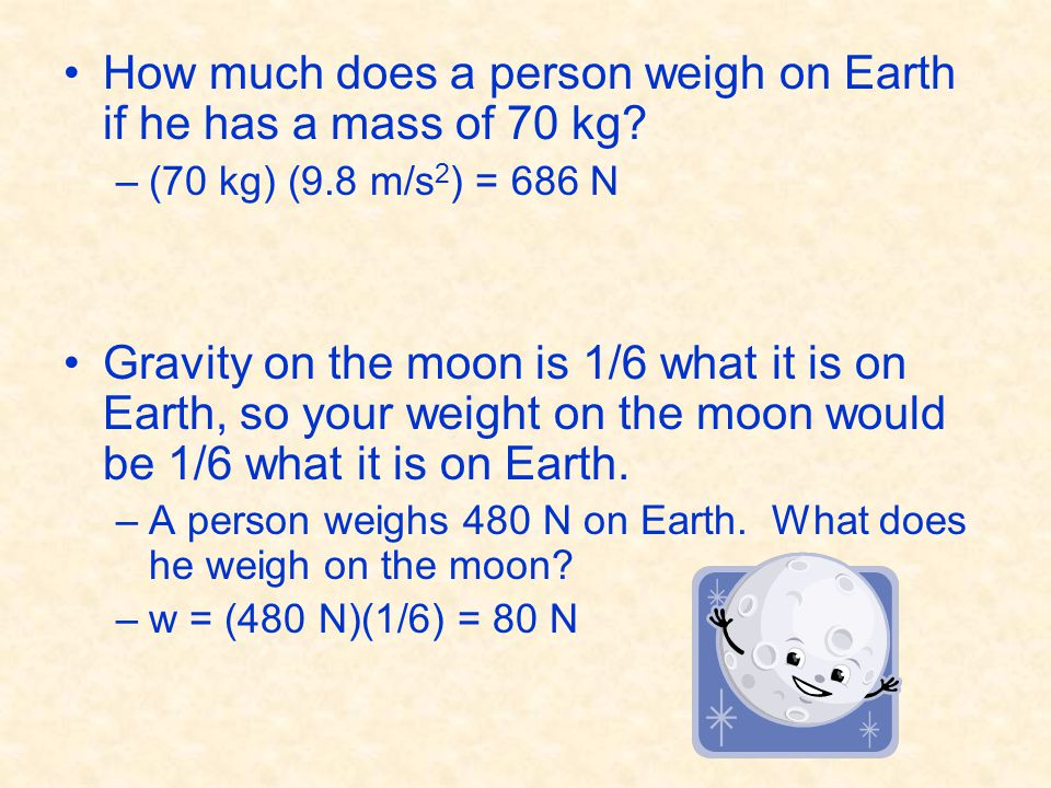 How much does a person weigh on Earth if he has a mass of 70 kg