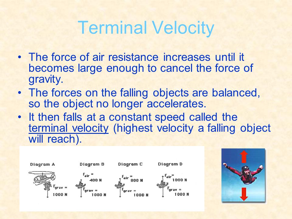 Terminal Velocity The force of air resistance increases until it becomes large enough to cancel the force of gravity.