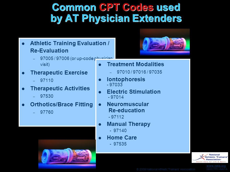 Common CPT Codes used by AT Physician Extenders