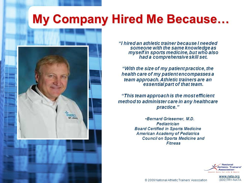 My Company Hired Me Because…