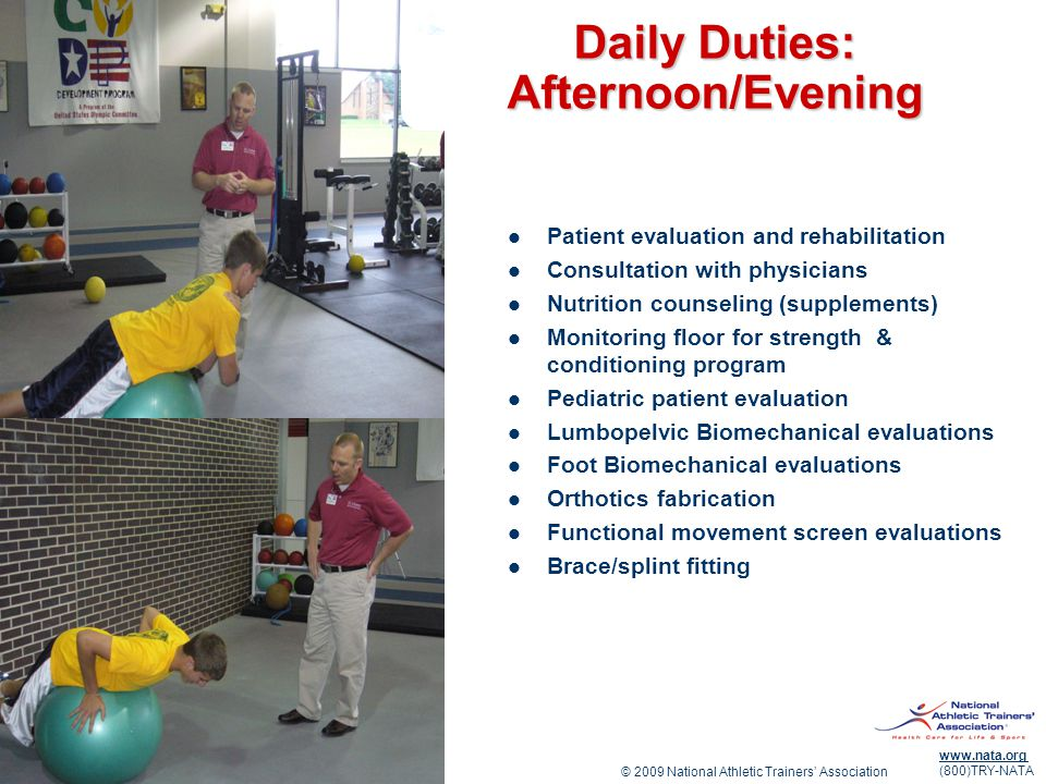 Daily Duties: Afternoon/Evening