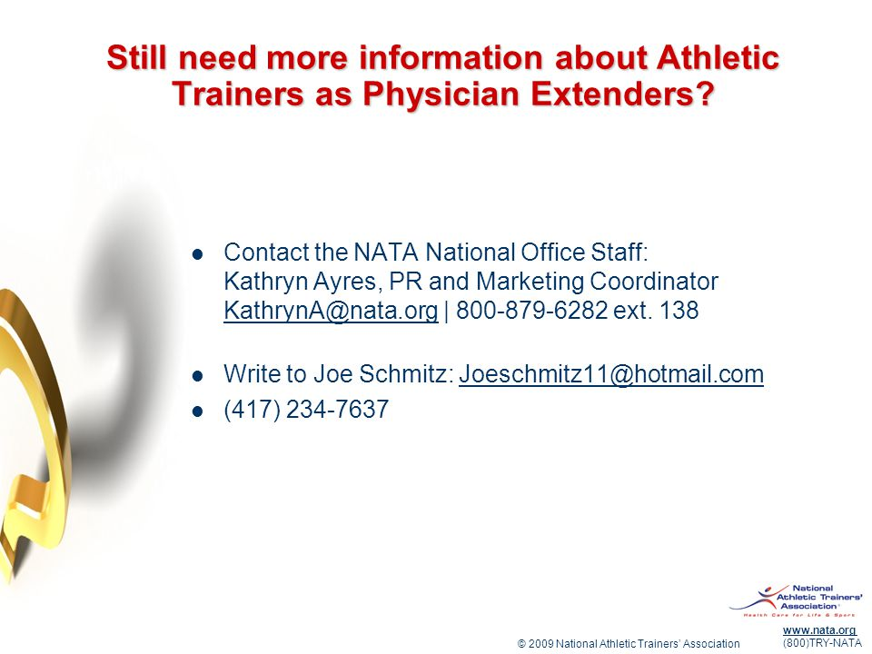 Still need more information about Athletic Trainers as Physician Extenders