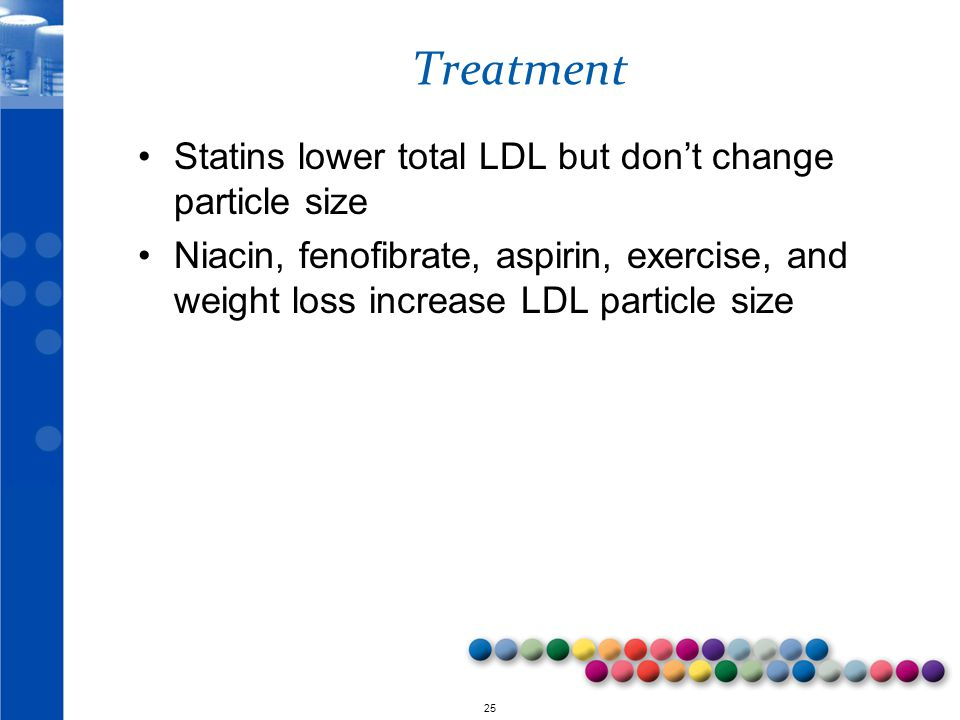 Treatment Statins lower total LDL but don't change particle size