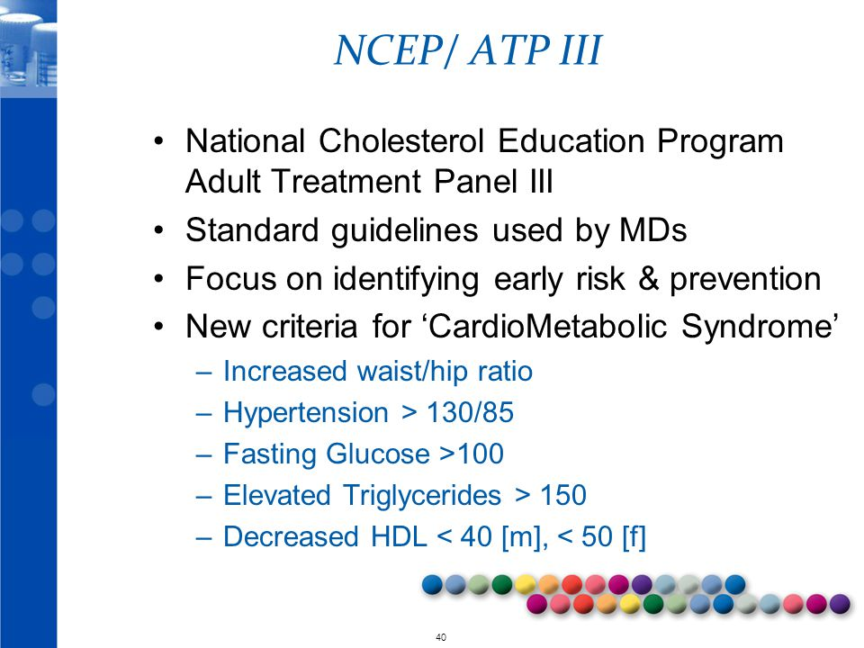 NCEP/ ATP III National Cholesterol Education Program Adult Treatment Panel III. Standard guidelines used by MDs.
