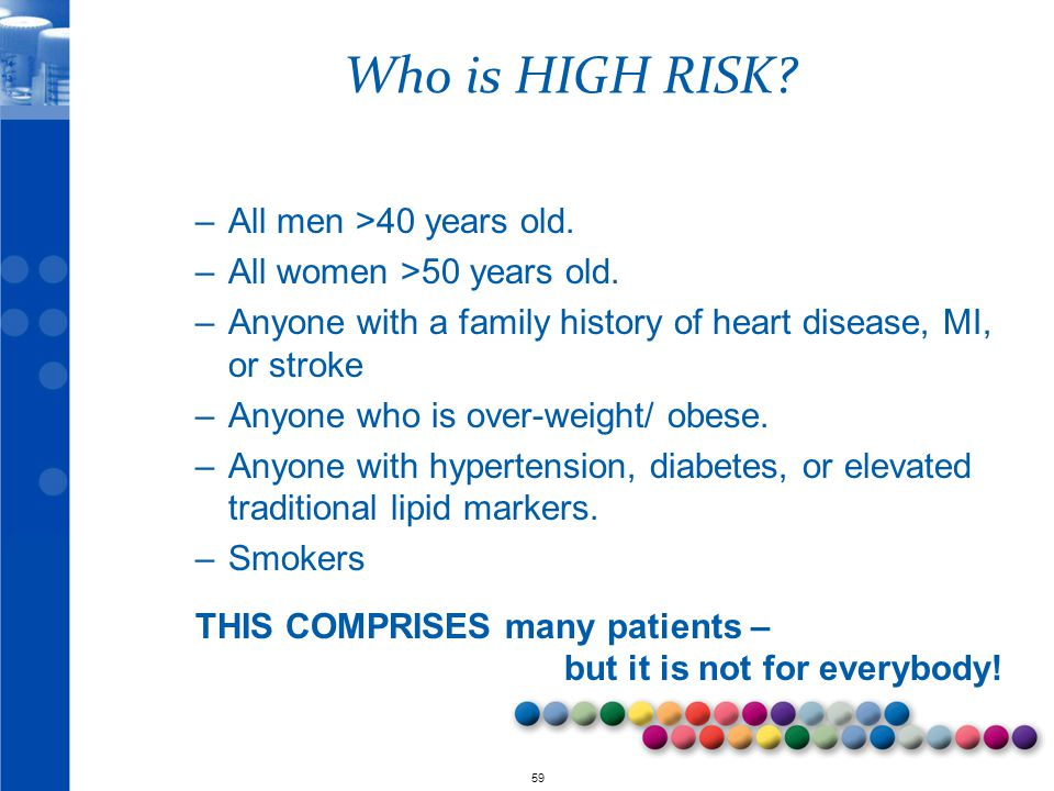 Who is HIGH RISK All men >40 years old.