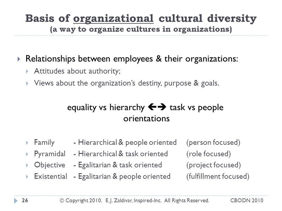 Basis of organizational cultural diversity (a way to organize cultures in organizations)