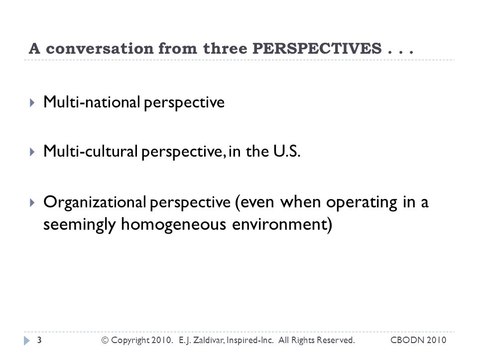 A conversation from three PERSPECTIVES . . .