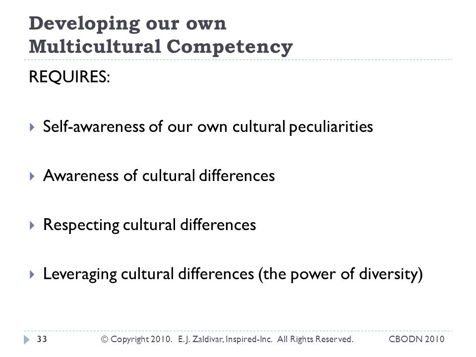 Developing our own Multicultural Competency