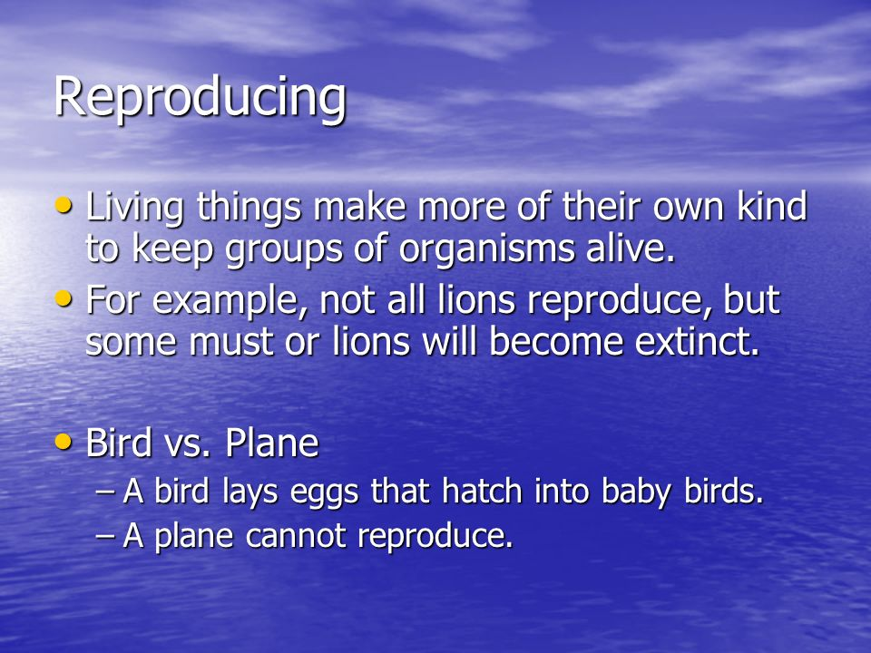 Reproducing Living things make more of their own kind to keep groups of organisms alive.