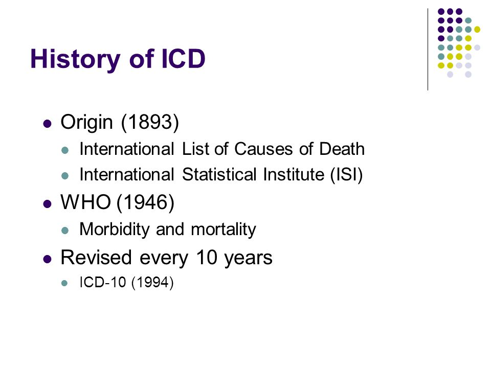 History of ICD Origin (1893) WHO (1946) Revised every 10 years