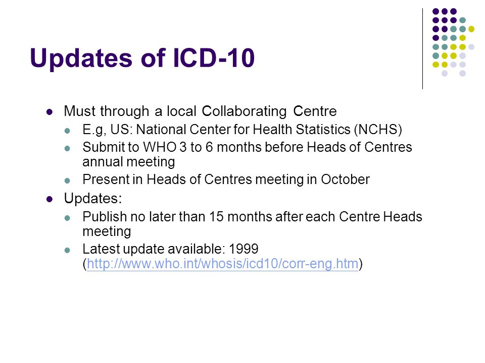 Updates of ICD-10 Must through a local Collaborating Centre Updates: