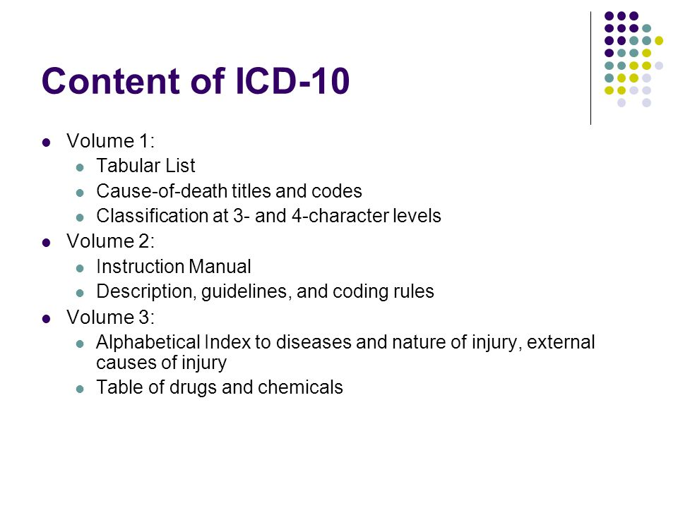 Content of ICD-10 Volume 1: Volume 2: Volume 3: Tabular List