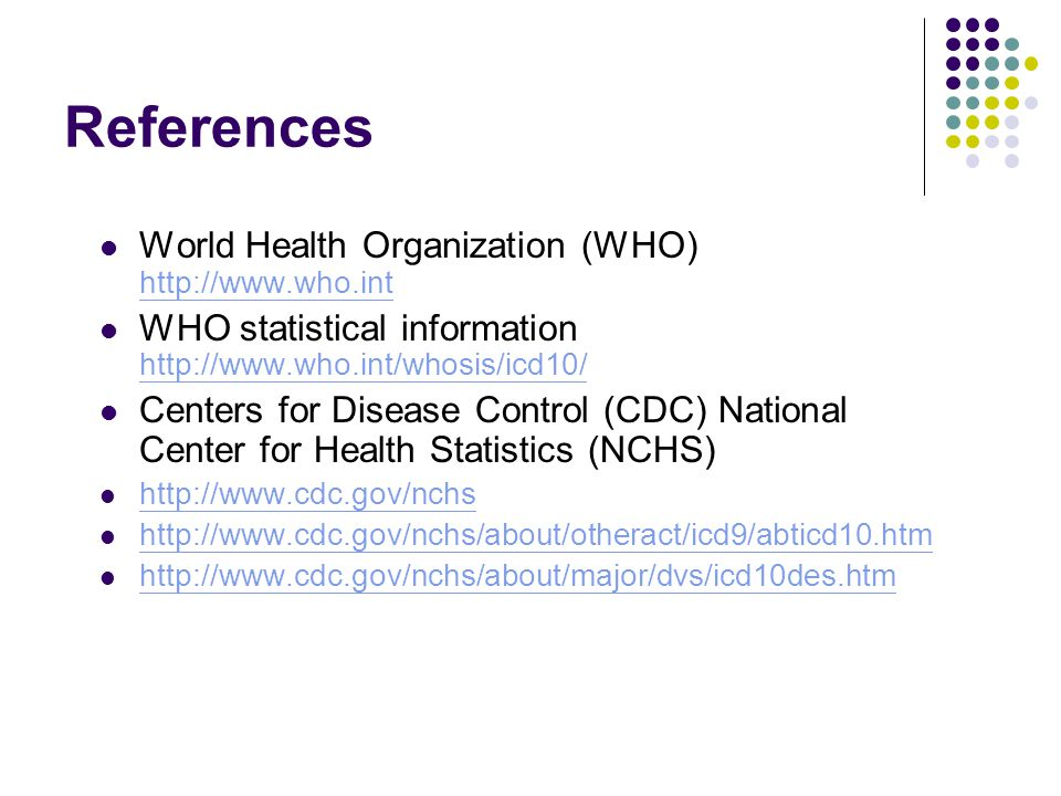 References World Health Organization (WHO) http://www.who.int