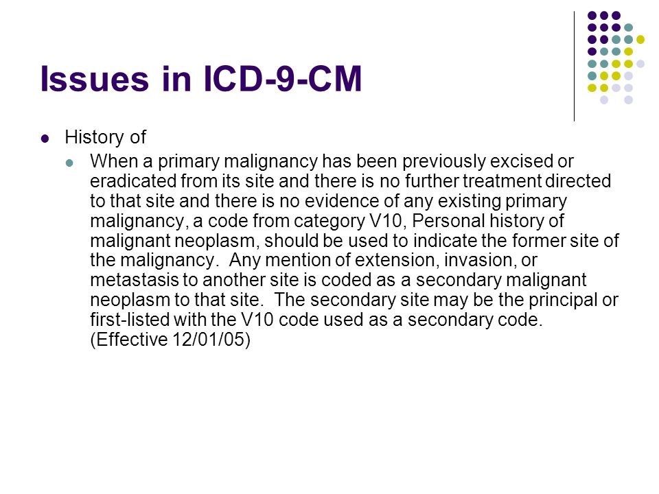Issues in ICD-9-CM History of