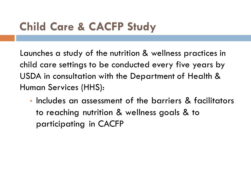Child Care & CACFP Study
