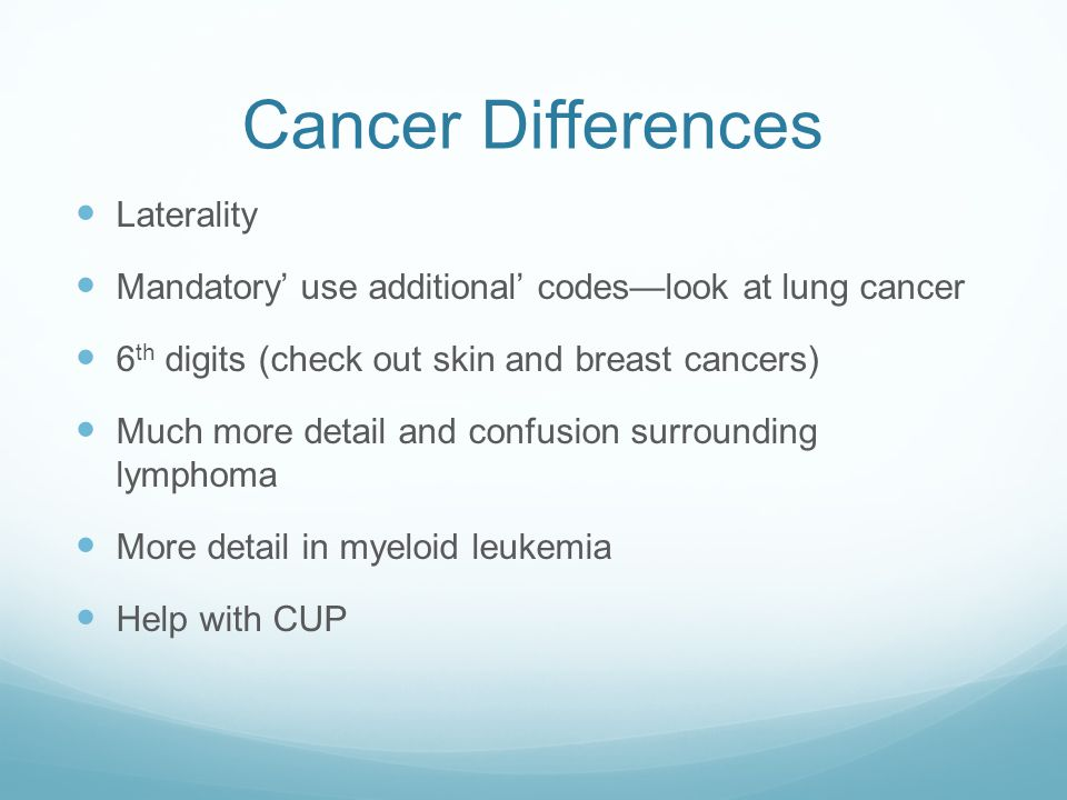 Cancer Differences Laterality