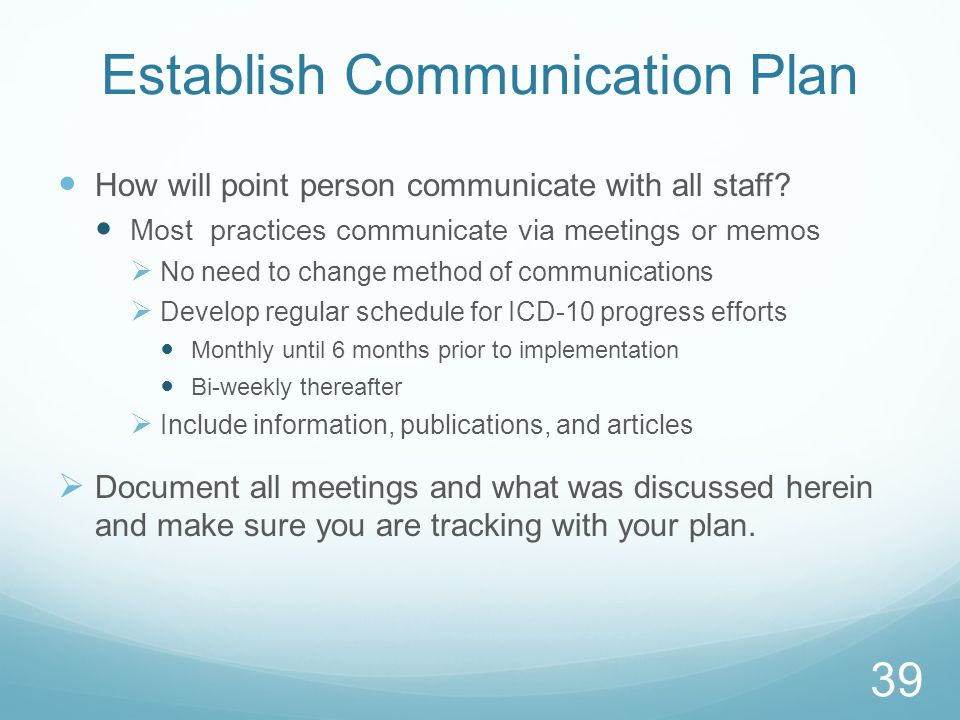 Establish Communication Plan