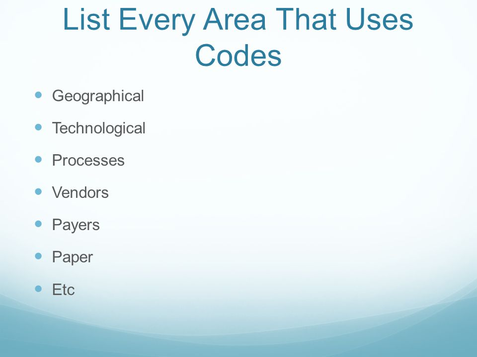List Every Area That Uses Codes
