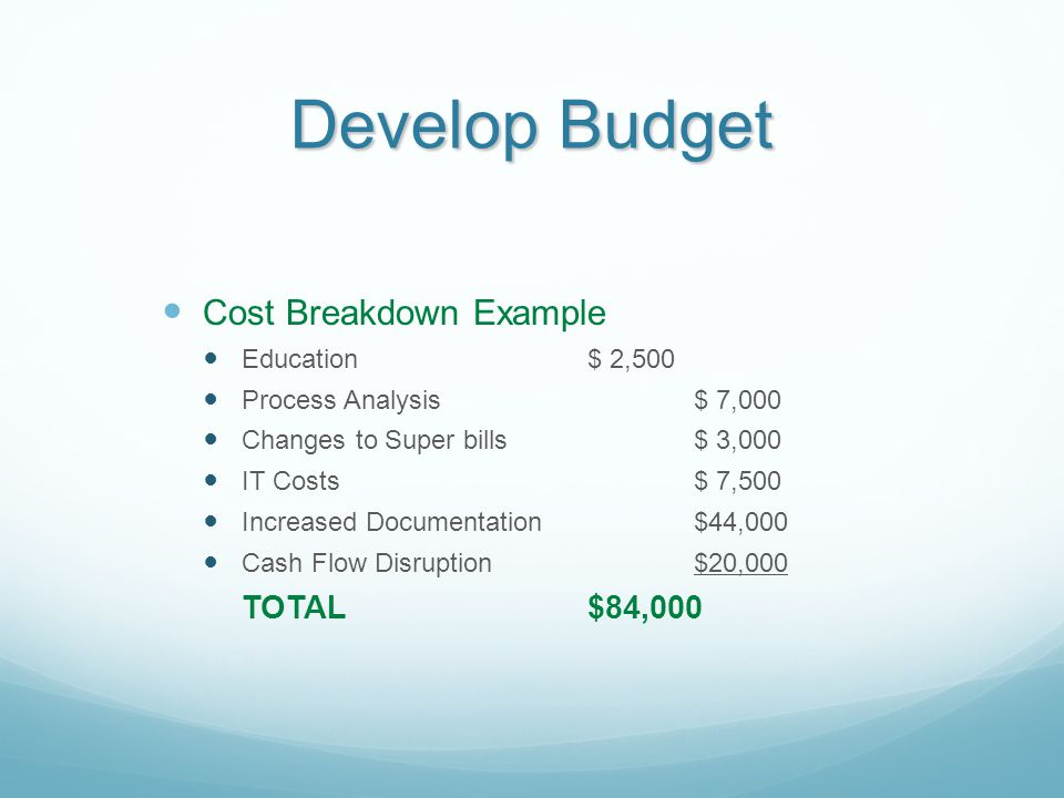 Develop Budget Cost Breakdown Example TOTAL $84,000 Education $ 2,500