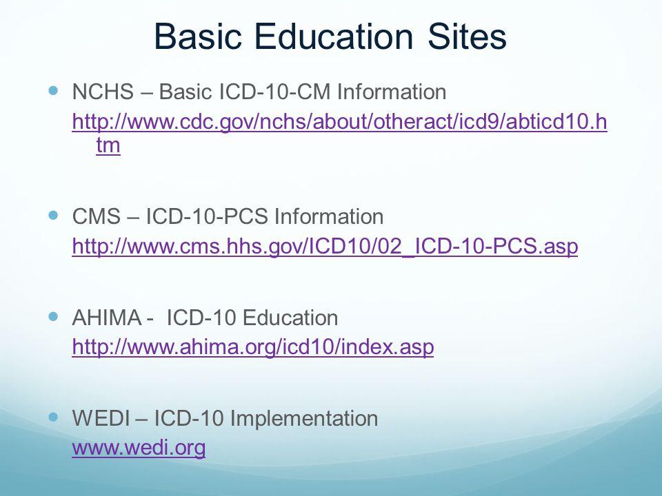 Basic Education Sites NCHS – Basic ICD-10-CM Information