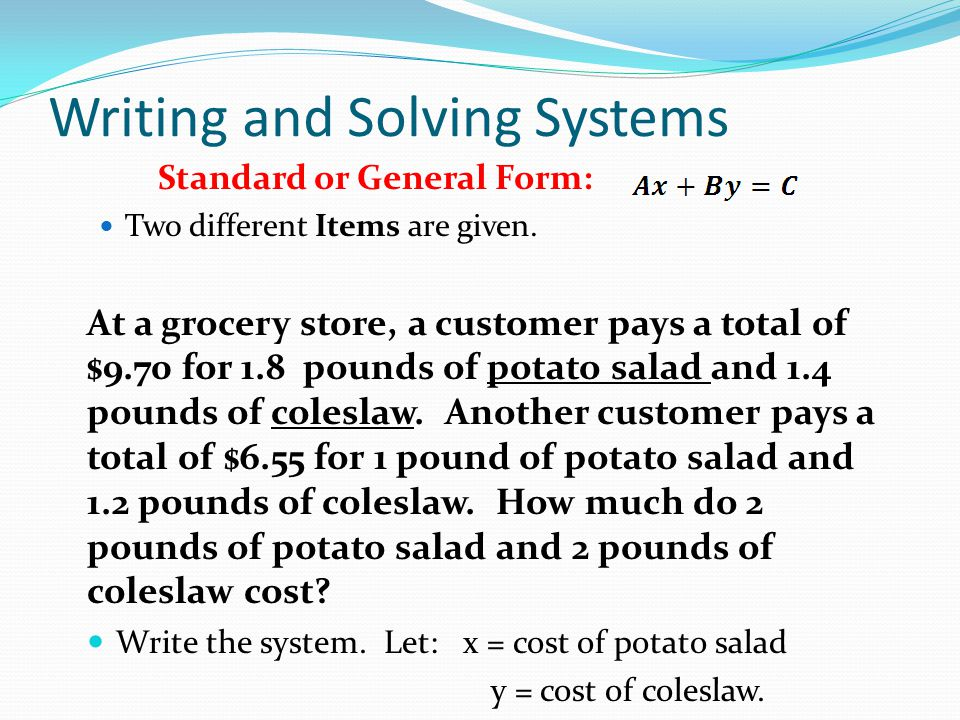 Writing and Solving Systems