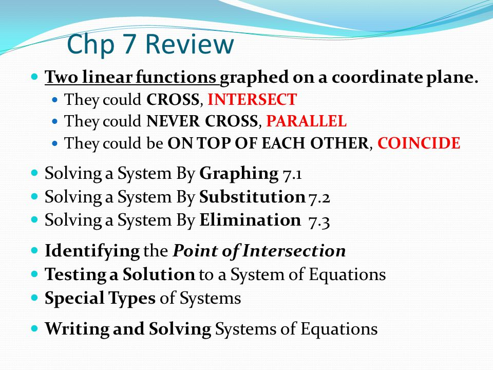 Chp 7 Review Two linear functions graphed on a coordinate plane.