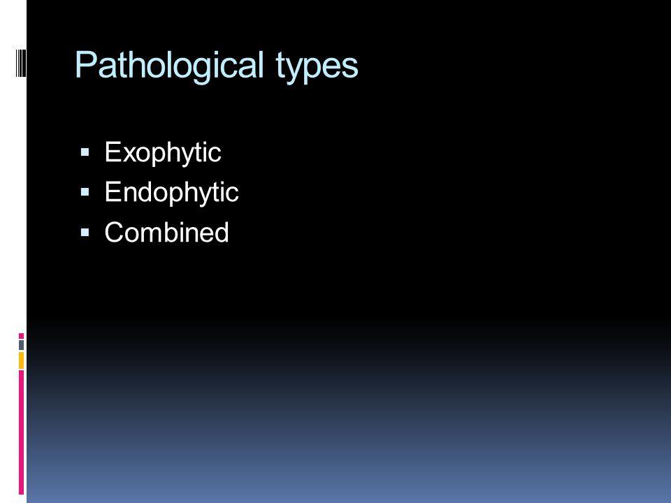 Pathological types Exophytic Endophytic Combined