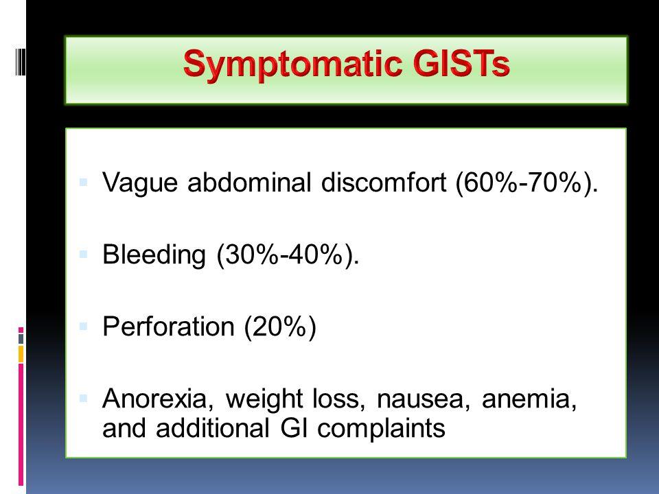 Symptomatic GISTs Vague abdominal discomfort (60%-70%).