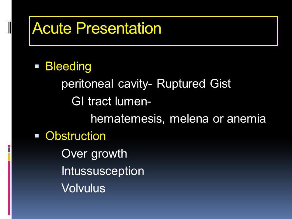 Acute Presentation Bleeding peritoneal cavity- Ruptured Gist