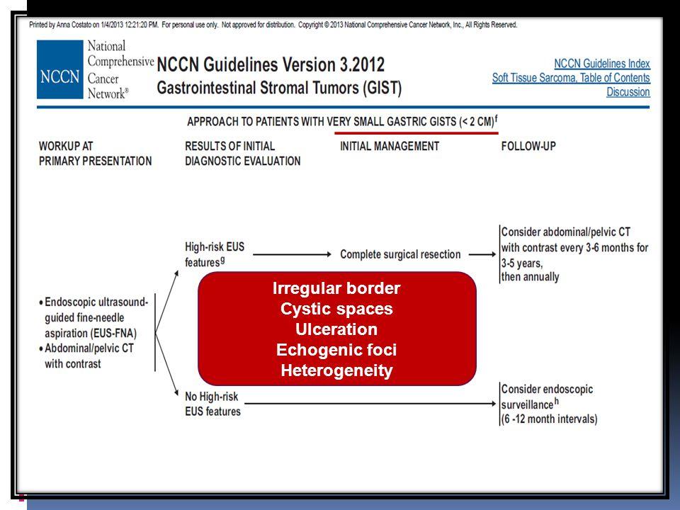 Irregular border Cystic spaces Ulceration Echogenic foci Heterogeneity