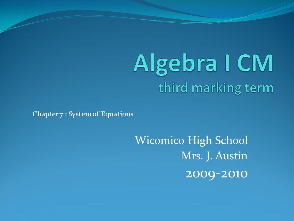 Algebra I CM third marking term