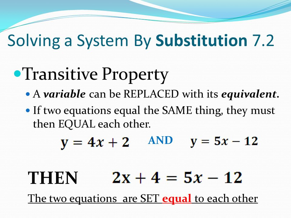 Solving a System By Substitution 7.2