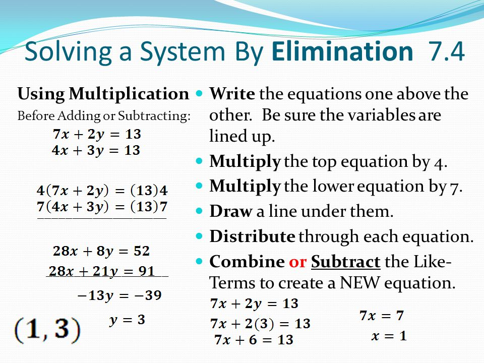 Solving a System By Elimination 7.4