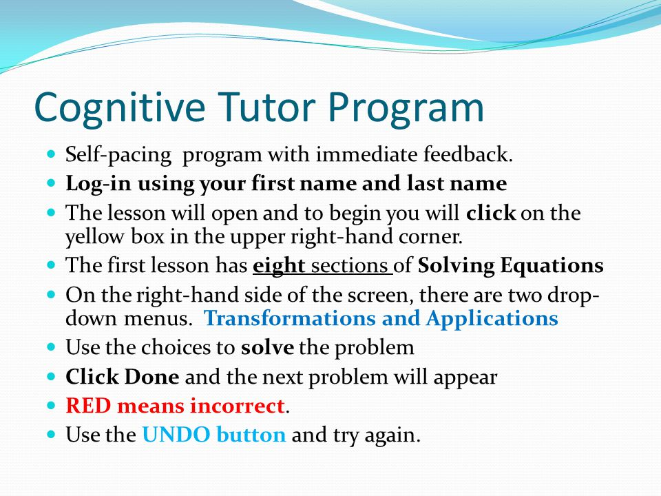 Cognitive Tutor Program