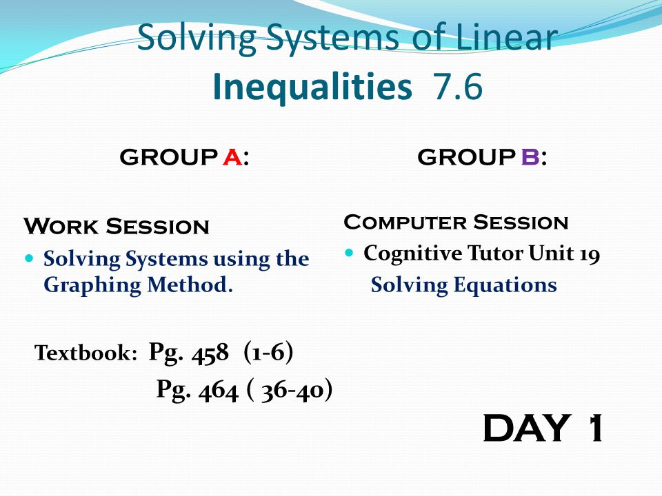 Solving Systems of Linear Inequalities 7.6