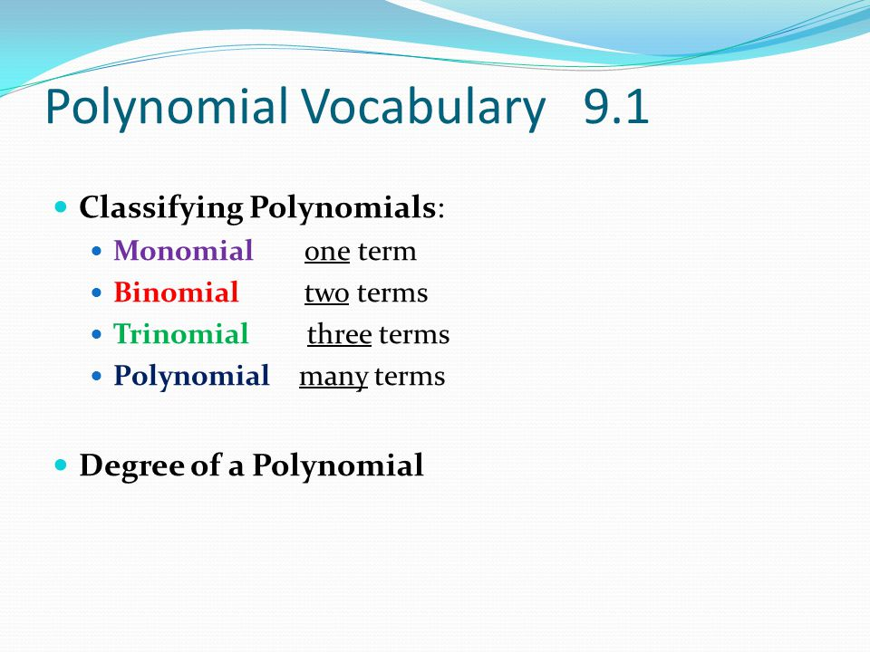 Polynomial Vocabulary 9.1