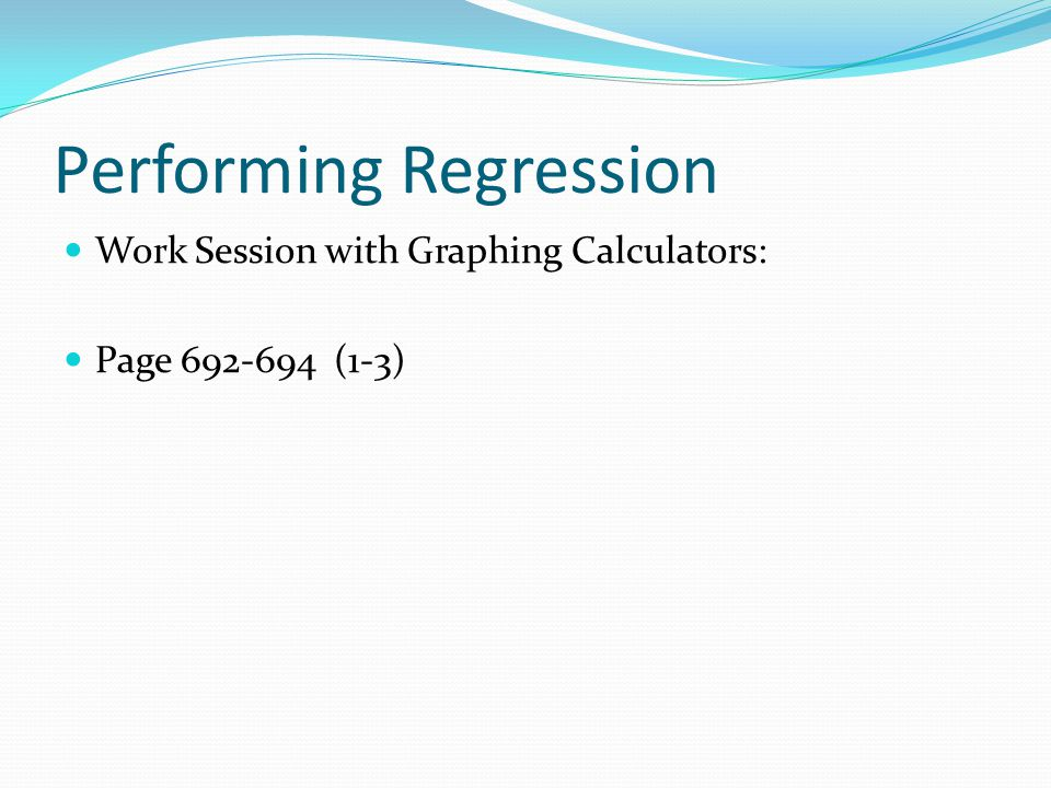 Performing Regression