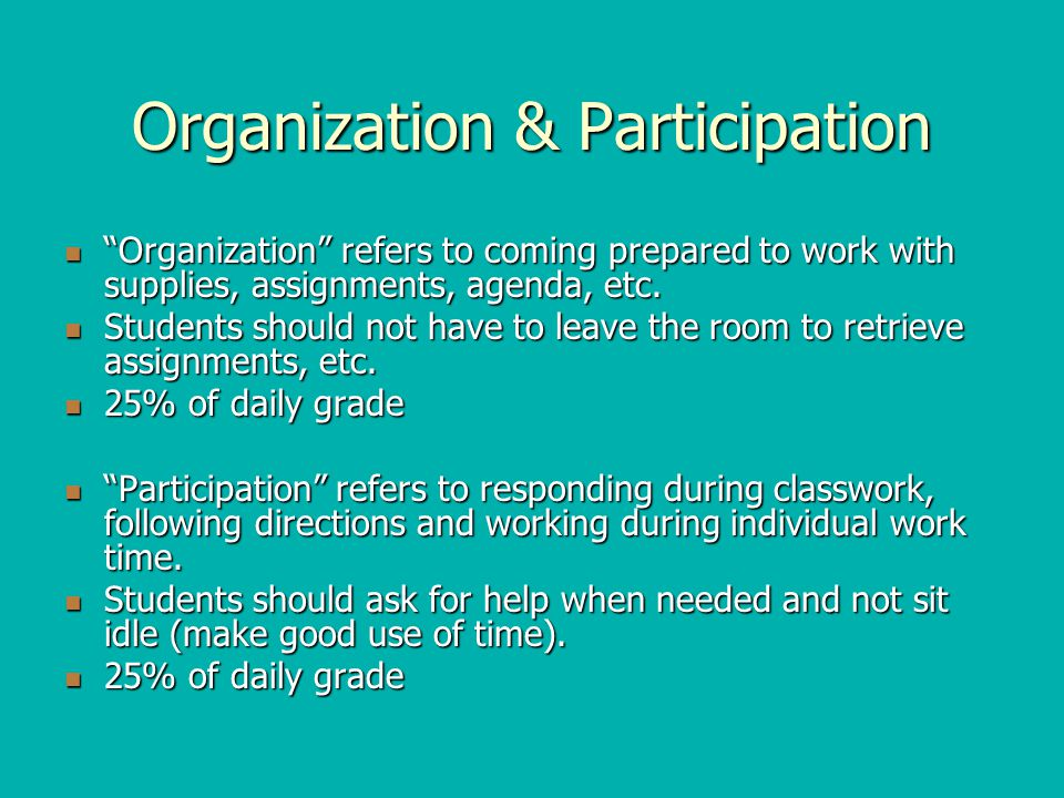 Organization & Participation