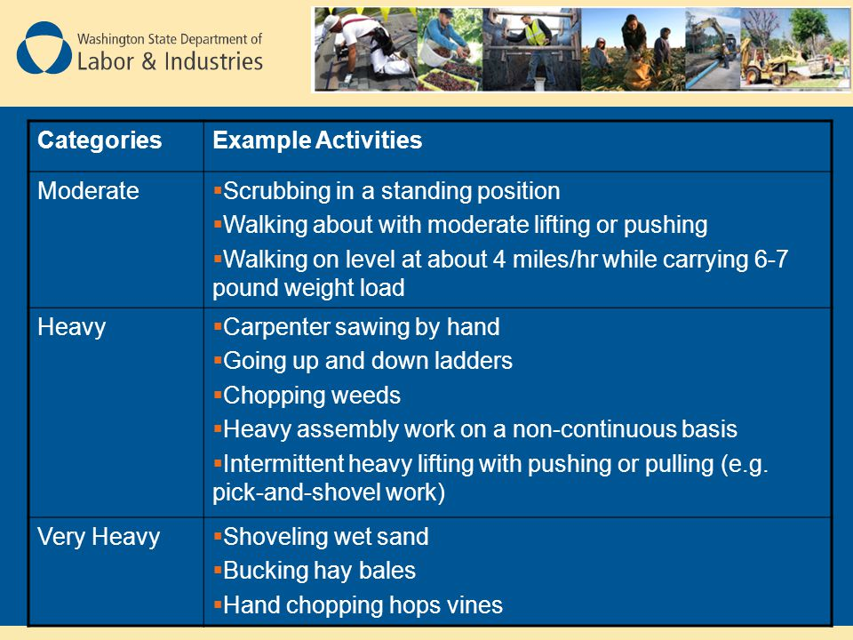 Categories Example Activities. Moderate. Scrubbing in a standing position. Walking about with moderate lifting or pushing.