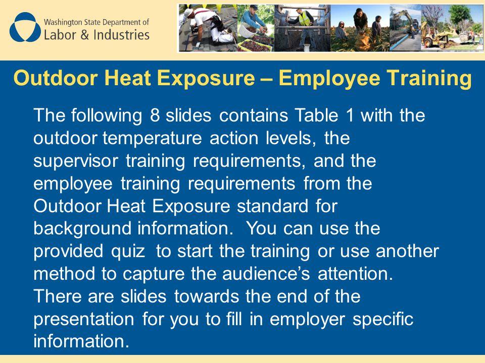 Outdoor Heat Exposure – Employee Training