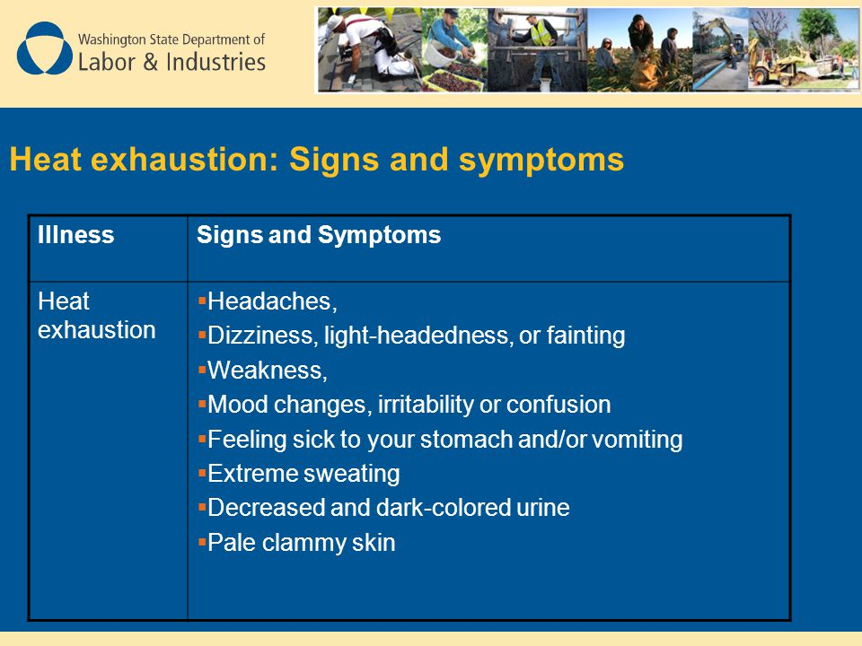 Heat exhaustion: Signs and symptoms