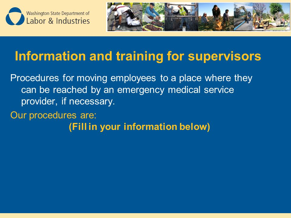 Information and training for supervisors