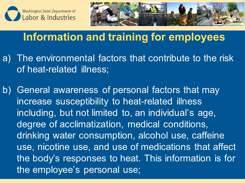 Information and training for employees