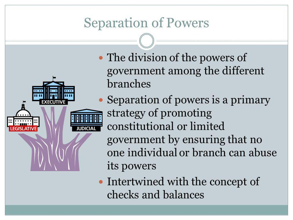 Separation of Powers The division of the powers of government among the different branches.