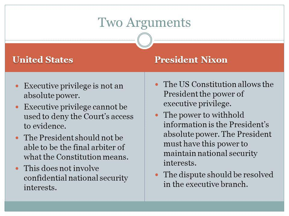 Two Arguments United States President Nixon