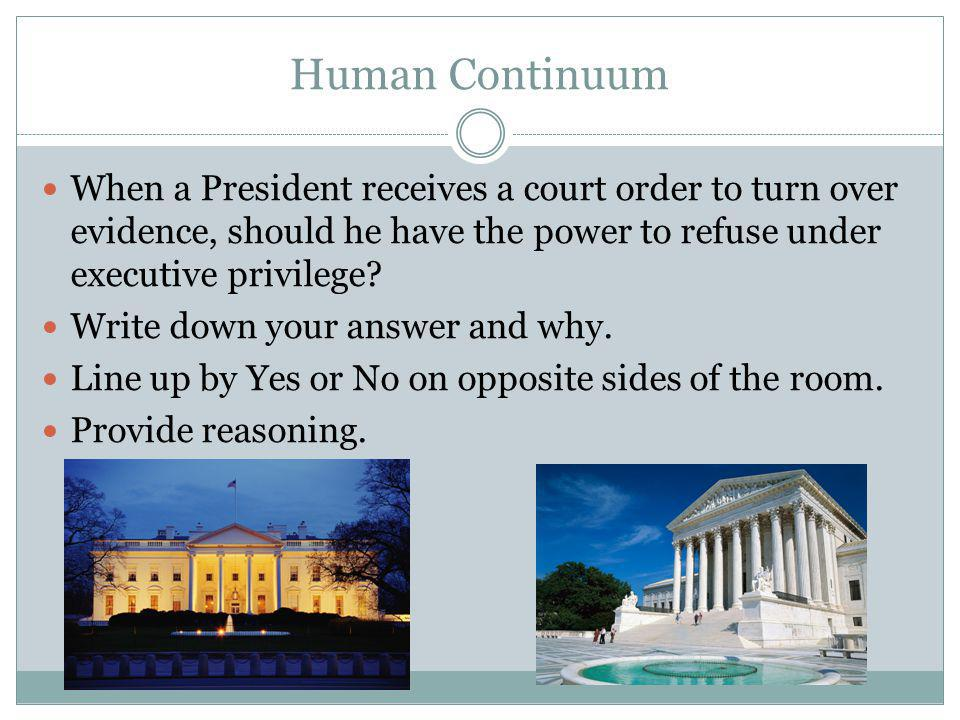 Human Continuum When a President receives a court order to turn over evidence, should he have the power to refuse under executive privilege
