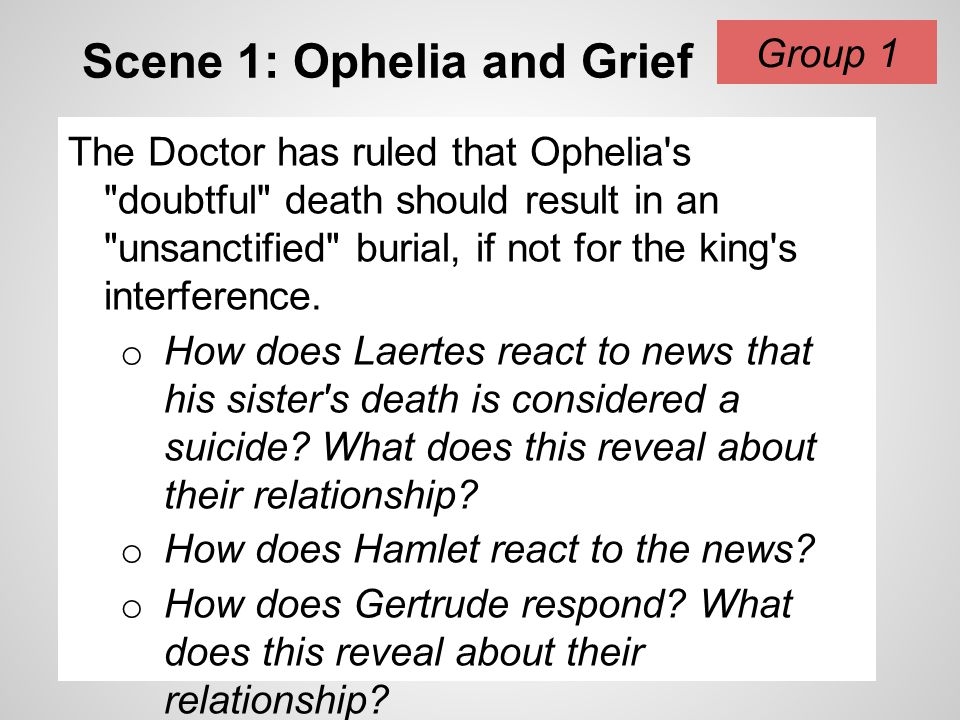 Scene 1: Ophelia and Grief