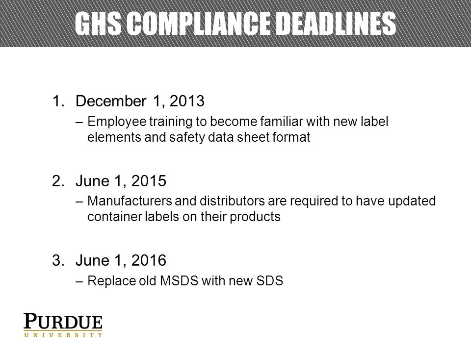 GHS Compliance Deadlines